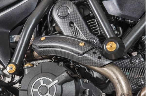 EXHAUST PIPE HEAT GUARD HOLD DUCATI SCRAMBLER - MATT CARBON