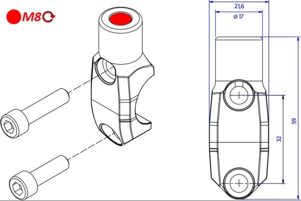 BREMBO MASTER CYLINDER CLAMP WITH MIRROR MOUNT THREAD M8 RIGHT