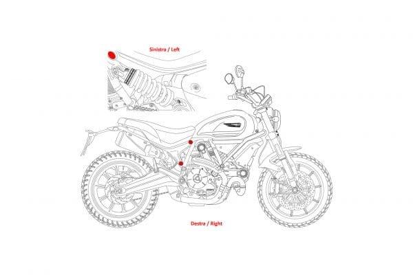 Rear frame holes plugs kit Ducati Scrambler 1100
